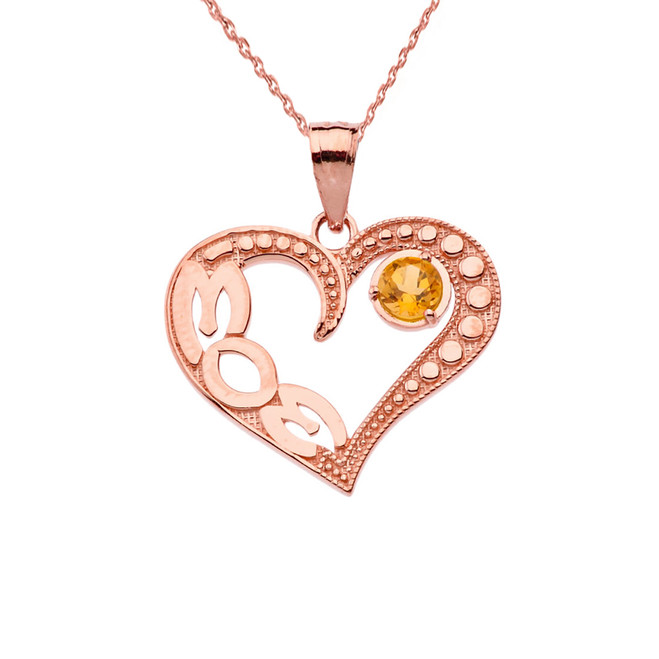 November Citrine (LC) 'MOM' Heart Pendant Necklace in Rose Gold