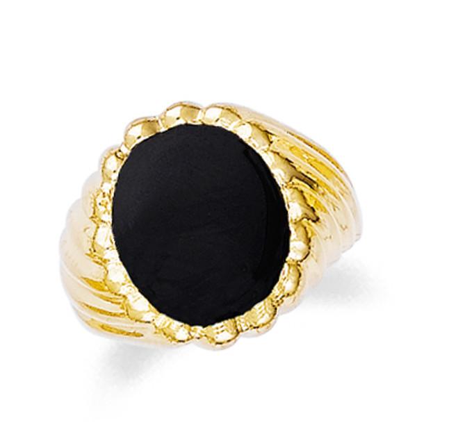 Gold Onyx Mens Swirl Ring