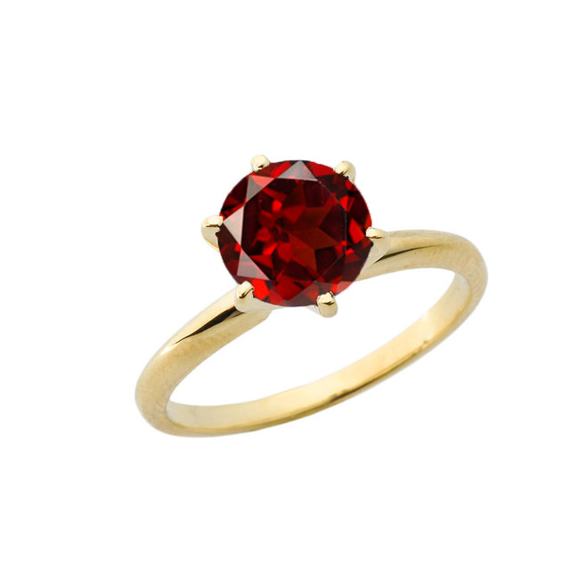 Yellow Gold 3.0 ct January Garnet (LC) Solitaire Engagement Ring