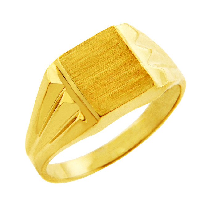 Men's Gold Signet Rings - The Frank Solid Gold Signet Ring