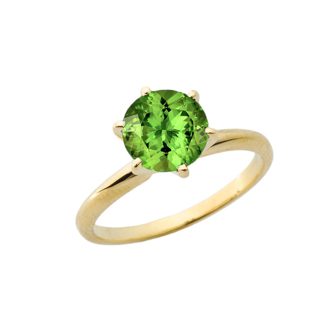 Yellow Gold 3.0 ct August Peridot (LC) Solitaire Engagement Ring