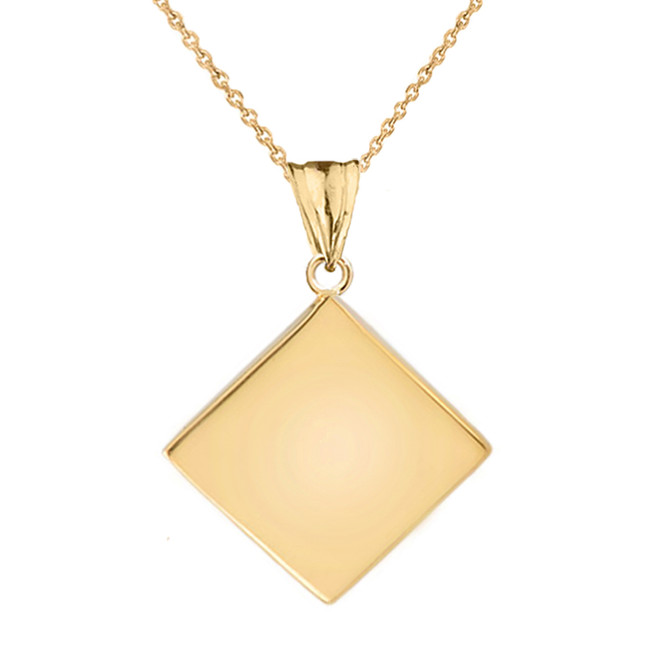 Solid Yellow Gold Simple Diamond Shaped Pendant Necklace
