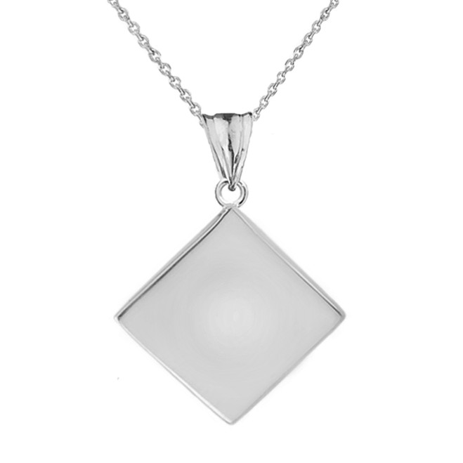 Solid White Gold Simple Diamond Shaped Pendant Necklace