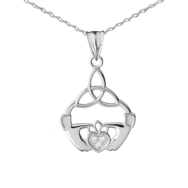 Diamond Trinity Knot Pendant Necklace in White Gold