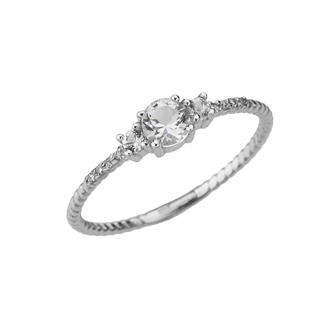 Elegant White Topaz and Diamond Rope Ring in White Gold