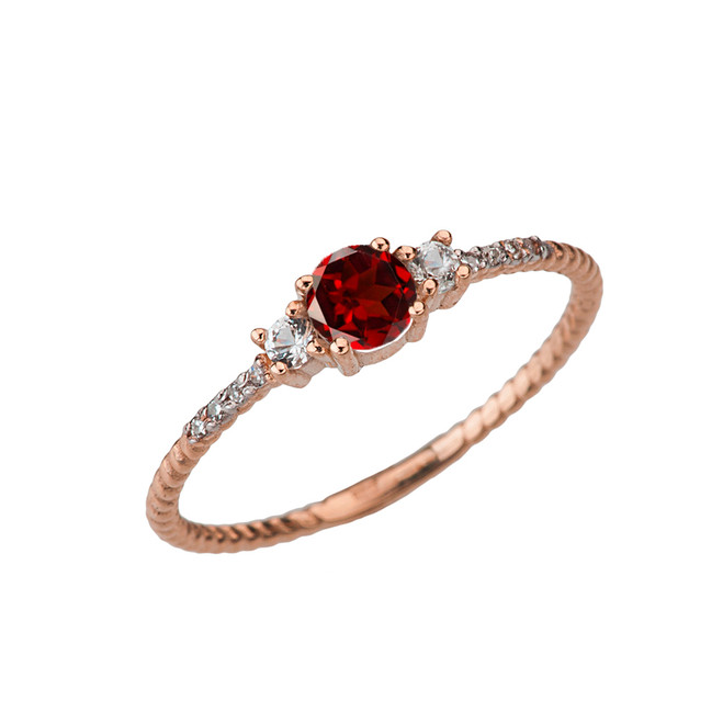 Dainty Elegant Garnet and Diamond Rope Ring in Rose Gold
