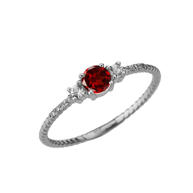 Dainty Elegant Garnet and Diamond Rope Ring in White Gold