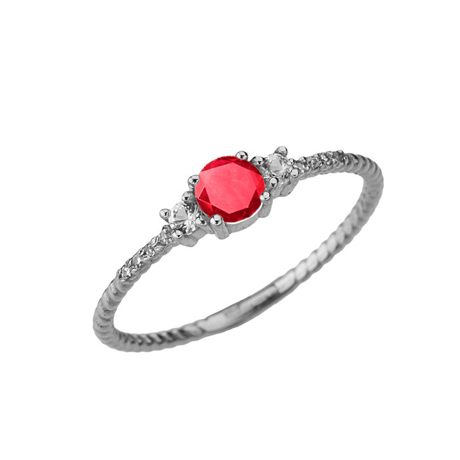 Dainty Elegant Ruby and Diamond Rope Ring in White Gold