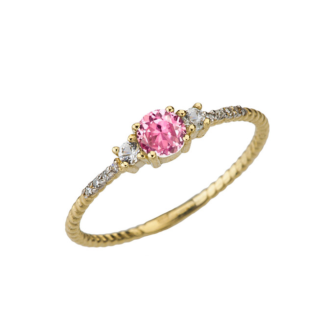 Dainty Elegant Pink CZ and Diamond Rope Ring in Yellow Gold