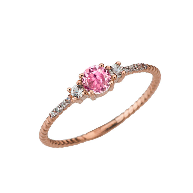 Dainty Elegant Pink CZ and Diamond Rope Ring in Rose Gold