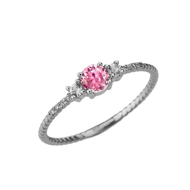 Dainty Elegant Pink CZ and Diamond Rope Ring in White Gold