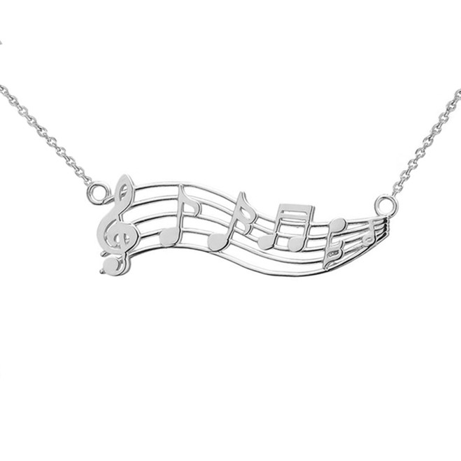 Horizontal Musical Notes Necklace in Sterling Silver