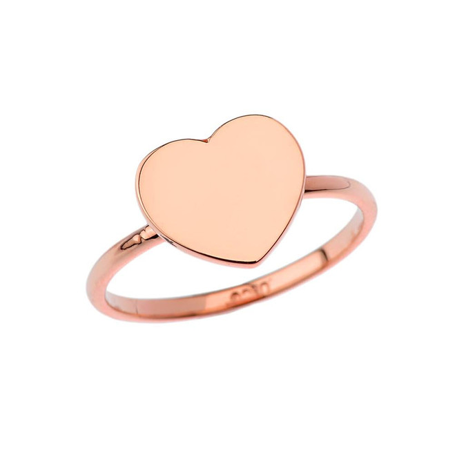 Heart Signet Ring in Rose Gold