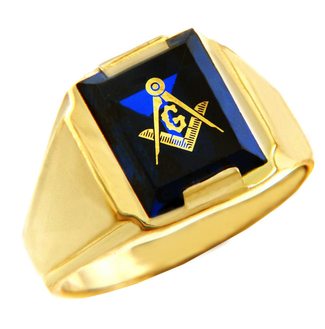 Freemason Blue Stone Square and Compass Gold Masonic Mens Ring
