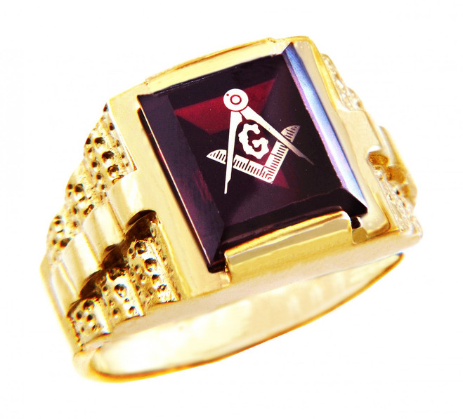 Freemason Red Garnet Square and Compass Gold Masonic Men's Ring