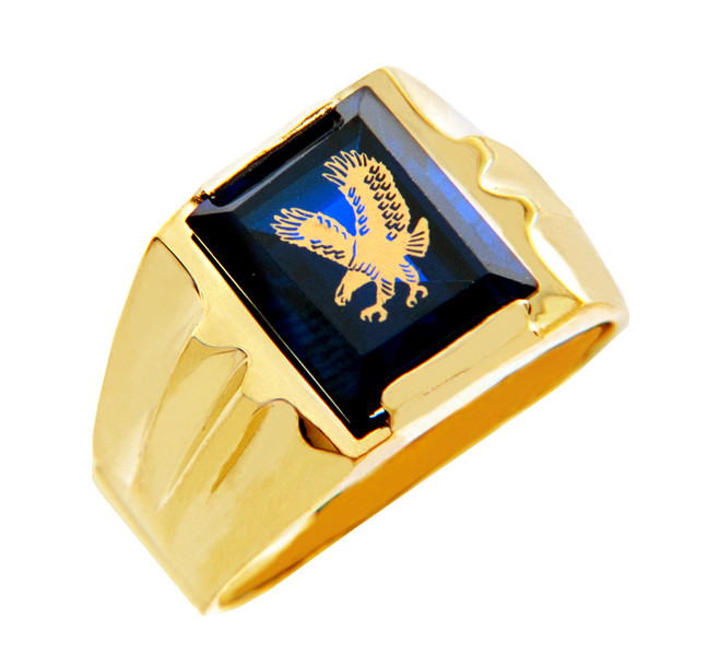 Men's Gold Rings - The Blue Stone Eagle Gold Ring