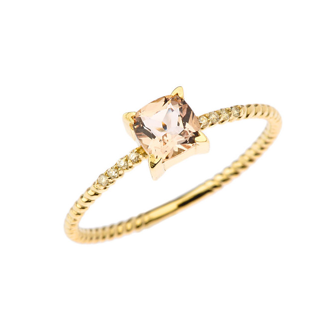 Dainty Diamond and Genuine Morganite Rope Ring in Yellow Gold