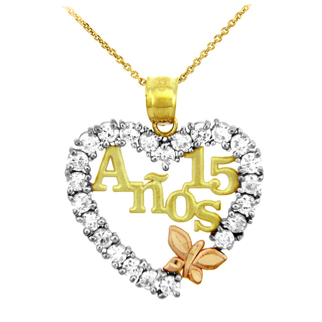 Gold Sweet 15 Anos Quinceanera Pendant Necklace with Cubic Zirconia Heart with Butterfly