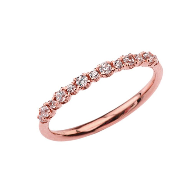 Dainty Fashion Chic Diamond Ring in Rose Gold