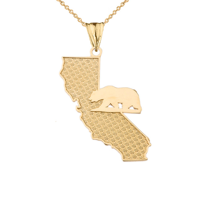 California State Map With Grizzly Bear Silhouette in Yellow Gold