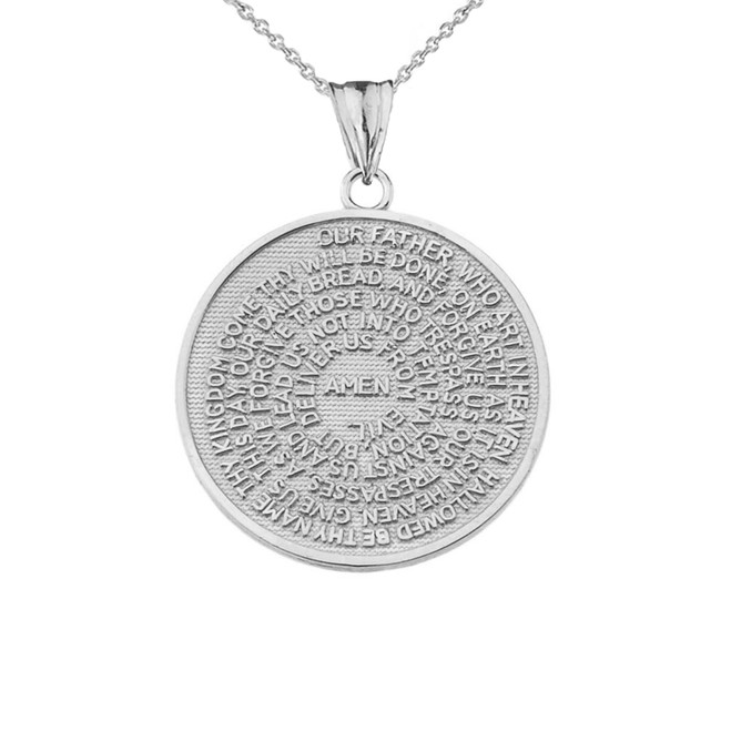 The Lords Prayer Medallion Pendant Necklace in Sterling Silver