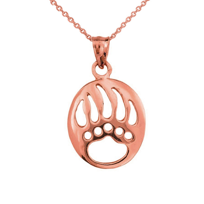 Rose Gold  Gold Bear Paw Print Pendant