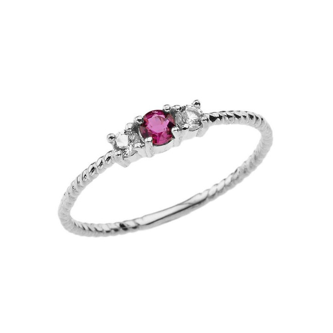 BoHo Elegant Ruby and White Topaz Stackable Rope Ring in White Gold