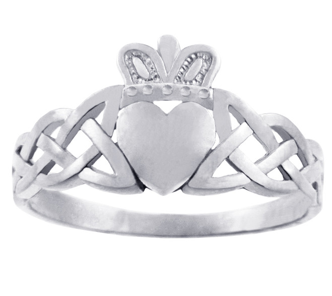 Gold Claddagh Rings - The Variation White Gold Claddagh Ring with Trinity Band