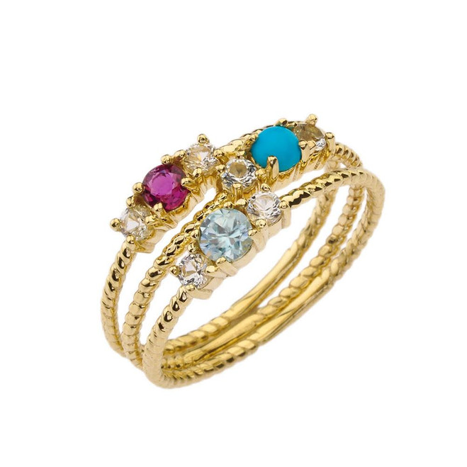 BoHo Elegant Gemstone Stackable Rope Ring in Yellow Gold