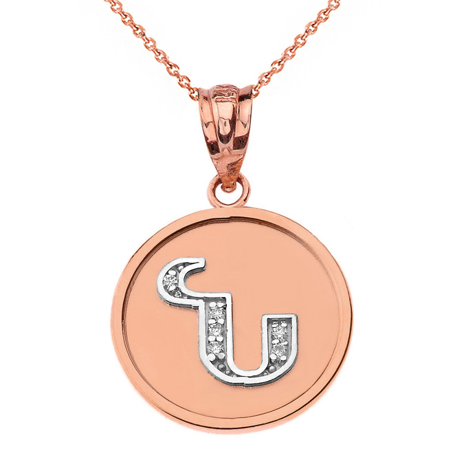 "Solid Two Tone Rose Gold Armenian Alphabet Diamond Disc Initial ""N"" Pendant Necklace"