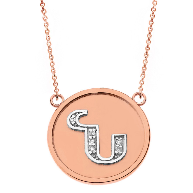 "14K Solid Two Tone Rose Gold Armenian Alphabet Diamond Disc Initial ""N"" Necklace"
