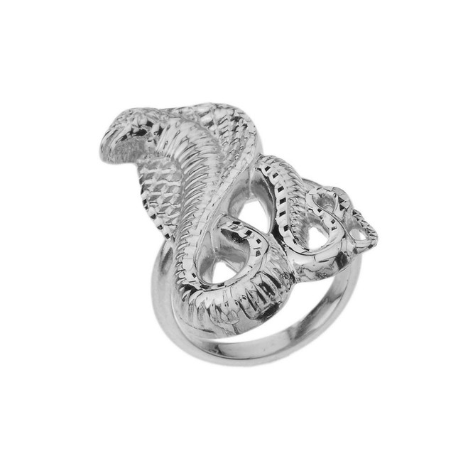Snake Statement Ring in White Gold