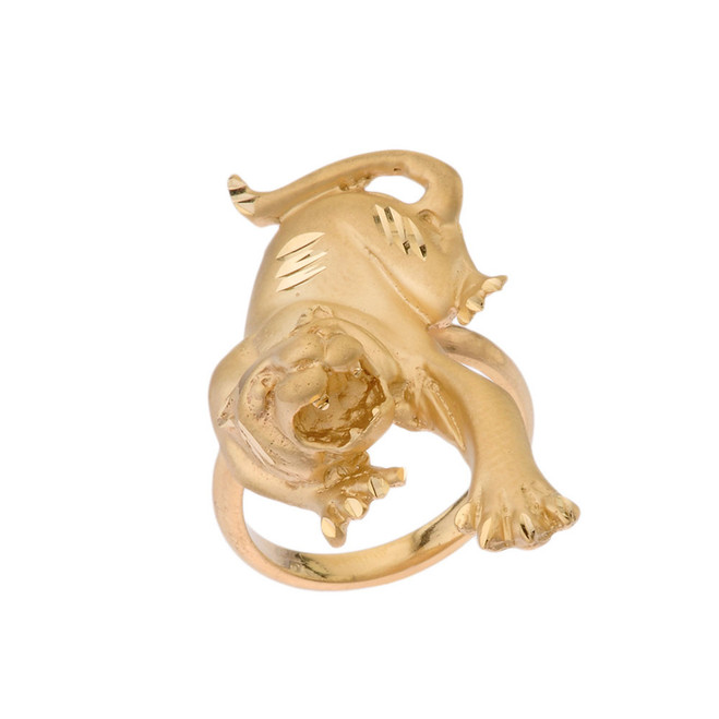Matte Panther Statement Ring in Yellow Gold