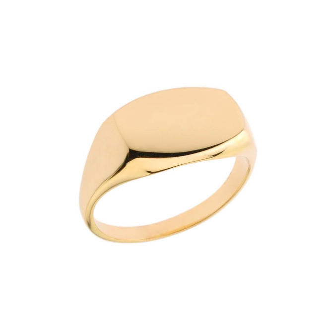 Comfort Fit Rectangular Signet Ring in Yellow Gold