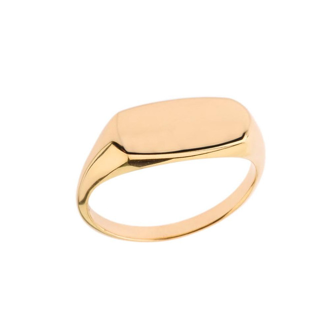 Comfort Fit Narrow Rectangular Signet Ring in Yellow Gold