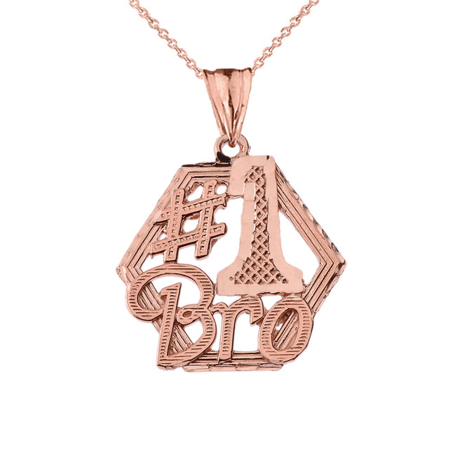 #1 Best Brother Pendant Necklace in Rose Gold