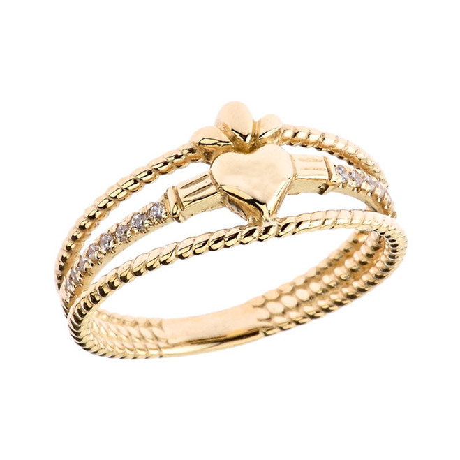 Modern Claddagh Diamond Rope Engagement/Proposal Ring in Yellow Gold