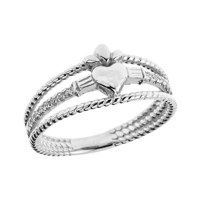 Modern Claddagh Diamond Rope Engagement/Proposal Ring in White Gold