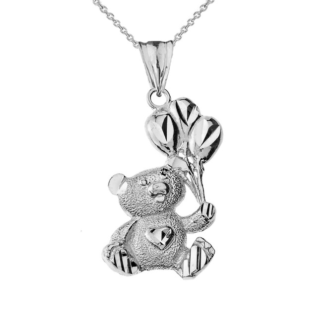 Teddy Bear with Ballon Pendant Necklace in Sterling Silver