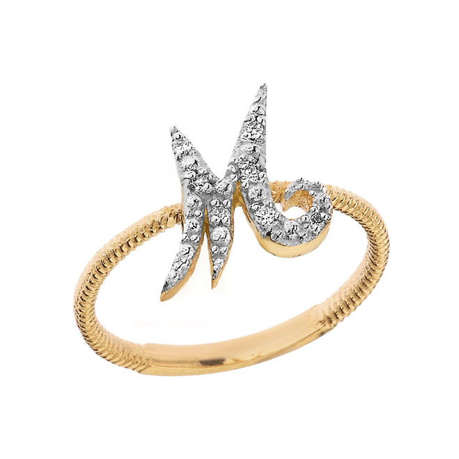 """Solid Yellow Gold Script Initial """"M"""" Stackable Diamond Ring"""