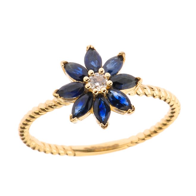 Genuine Sapphire  and Diamond Daisy Promise Rope Ring in Yellow Gold