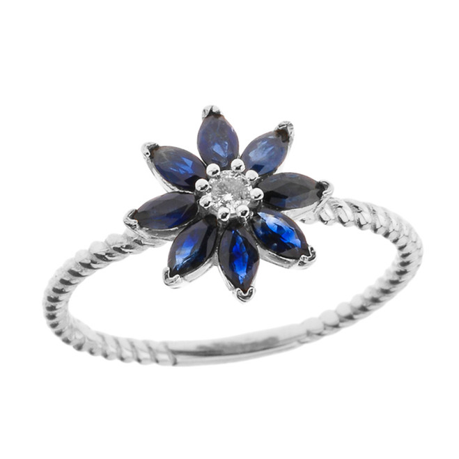 Genuine Sapphire  and Diamond Daisy Promise Rope Ring in White Gold