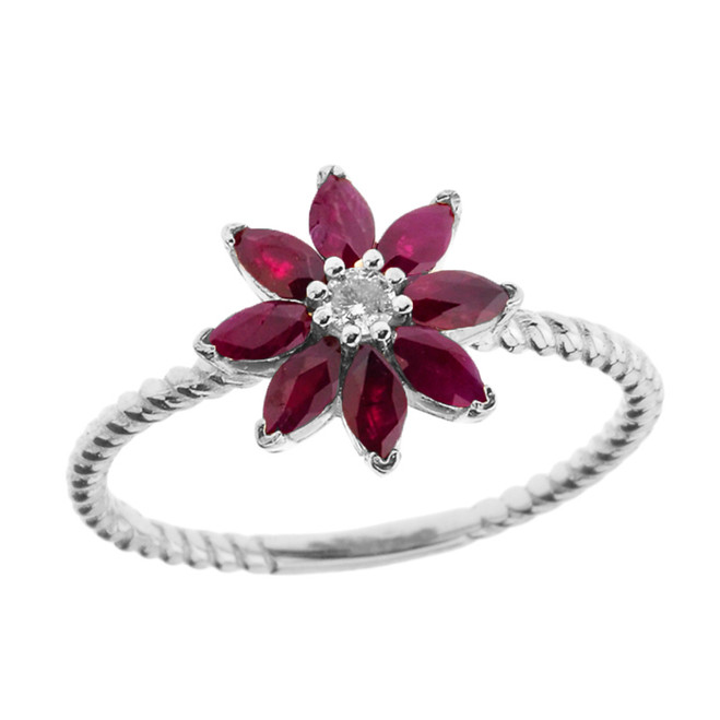 Genuine Ruby and Diamond Daisy Promise Rope Ring in White Gold
