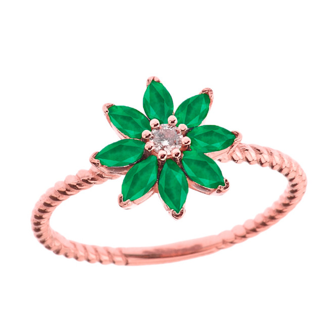 Emerald (LCE) and Diamond Daisy Promise Rope Ring in Rose Gold