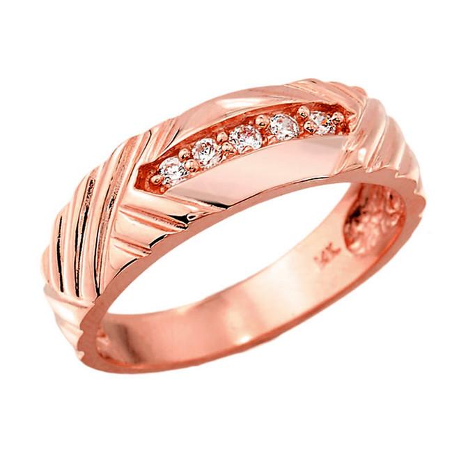 Rose Gold Men's Diamond Wedding Band
