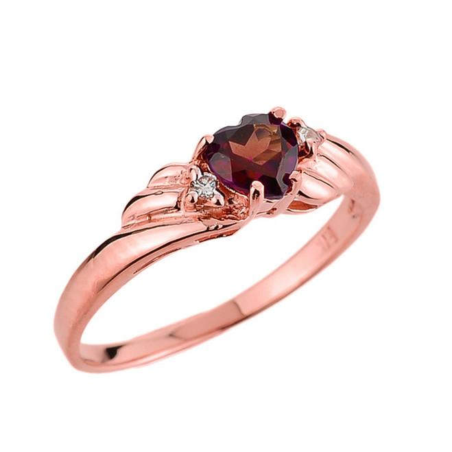 Rose Gold Ladies Garnet and Diamond Gemstone Ring