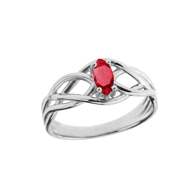 Celtic Knot Genuine Ruby Ring in Sterling Silver