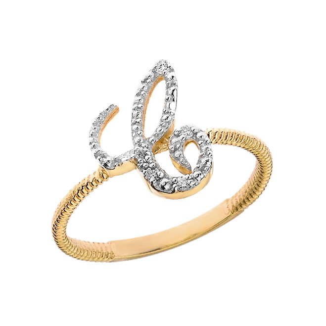 """Solid Yellow Gold Script Initial """"C"""" Stackable Diamond Ring"""
