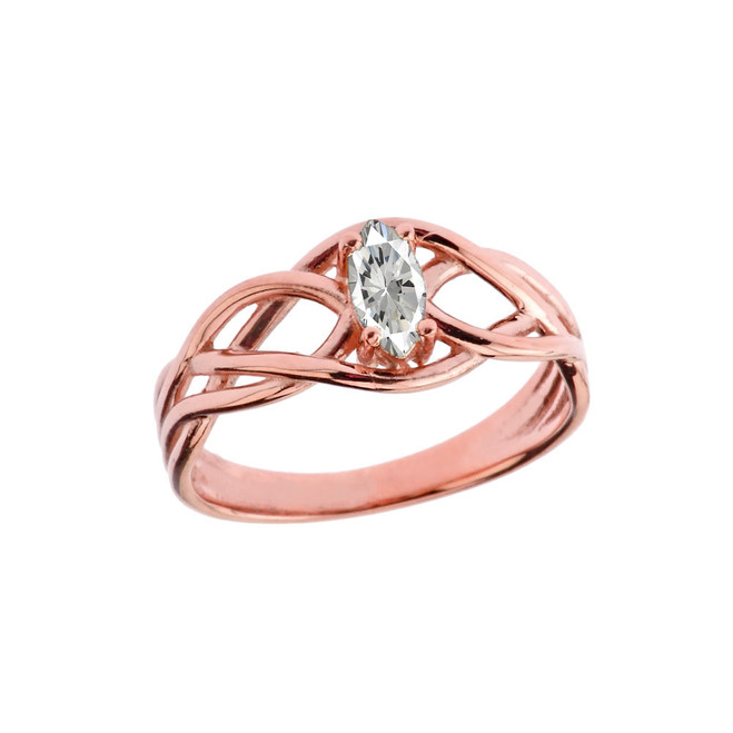 Celtic Knot Cubic Zirconia Ring in Rose Gold