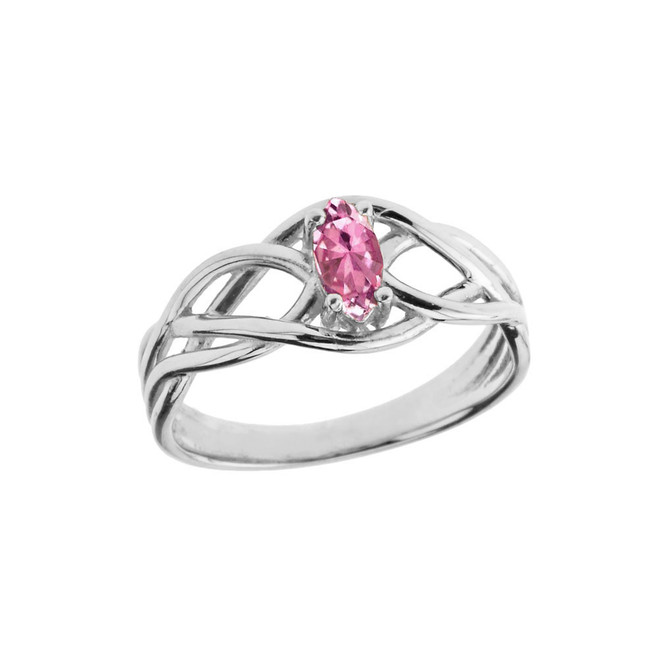 Celtic Knot Pink Cubic Zirconia Ring in Sterling Silver